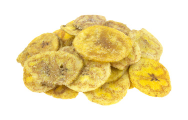 Salted plantains on white background
