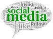 Social media conept in word tag cloud