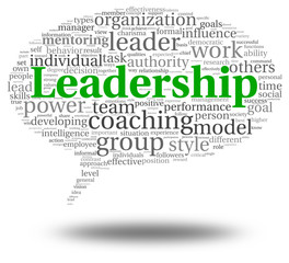 Leadership concept in word tag cloud