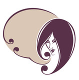 beautiful woman face and speech bubble, vector image for your te