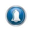 Ringing bell icon on blue with silver button Vector illustration