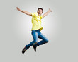 Young man dancing and jumping