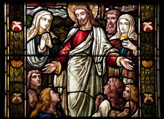 Glasfenster Bibel - Bergpredigt Jesu
