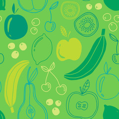 Seamless fruits pattern. Ecological concept design.