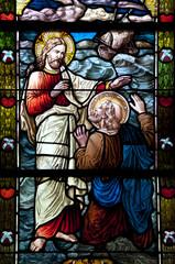 Glasfenster Jesus rettet Petrus vom sinkenden Schiff