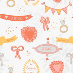 Wedding seamless pattern with cute details.