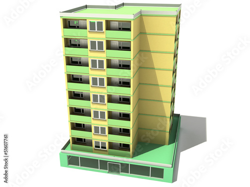 Multistorey house on a white background №2