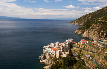 Grigoriou Monastery, Mount Athos Greece, view from above