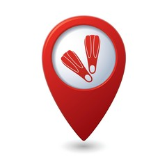 Map pointer with flippers icon