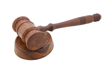 Wooden judge's gavel isolated on white