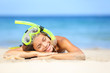 Travel summer vacation beach woman with snorkel
