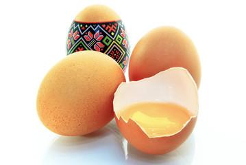 Easter eggs, egg yolk,isolated on white background.