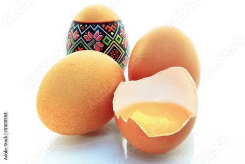 Easter eggs, egg yolk,isolated on white background.