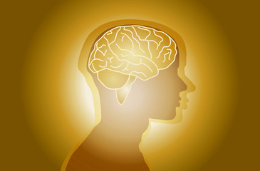 Gold Background Man Brain Vector