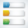 three steps banners vector