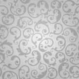 Seamless luxury silver swirls floral wallpaper pattern