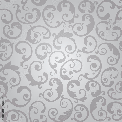 Seamless luxury silver swirls floral wallpaper pattern