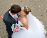 groom kisses the bride on the background of scattered rose petal
