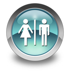 "Light Blue Glossy Pictogram ""Restrooms"""