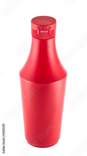 Ketchup sauce plastic bottle over white background