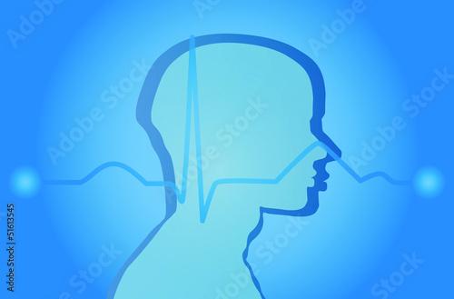 Wallpaper Brain EKG man Vector