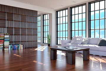 Lofty Living Room with a View