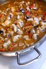 Bouillabaisse, poisson, sauce, tomate, lotte, encornet