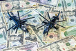 Military Helicopters landed on US currency