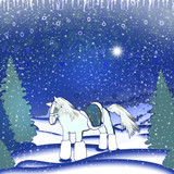 Horse in winter forest