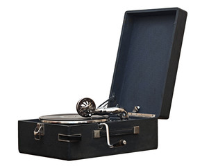 An old dusty gramophone playing a vinyl record