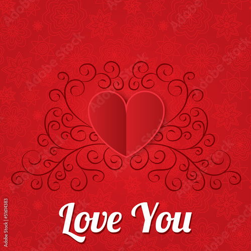 Red paper hearts background. Valentines day card.