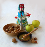 "Autumn still-life with a Ukrainian traditional doll ""motanka"" an"