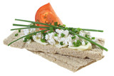 Crisp bread with cottage cheese tomato and chives