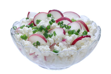 Cottage cheese with radish isolated on a white background