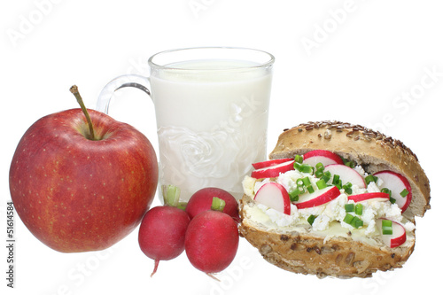 Healthy school breakfast isolated on a white background