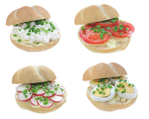 Sandwiches isolated on a white background