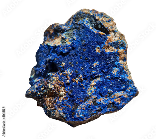 Aluminium Edelsteen Azurite Cobalt Blue Stone Isolated on White