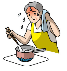 熱中症注意高齢者の室内調理