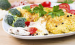 Large Egg Omelet with vegetables and herbs