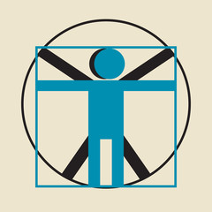 Leonardo da Vinci vitruvian man simplified sign