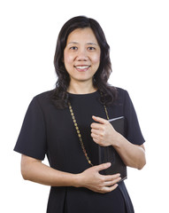 Mature Asian Woman in Business attire on White background
