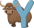 Alphabet Y with yak cartoon