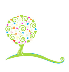 Swirly tree with painted hands and hearts logo