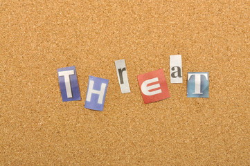 Threat Word Made From Newspaper Letter