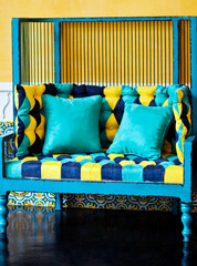 yellow and blue sofa
