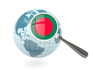Magnified flag of bangladesh with blue globe