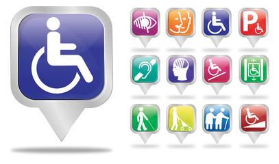 bulles carré argent : logos handicap 1