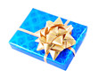 blue gift box with golden bow isolated on white