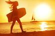 Summer woman body surfer beach fun at sunset