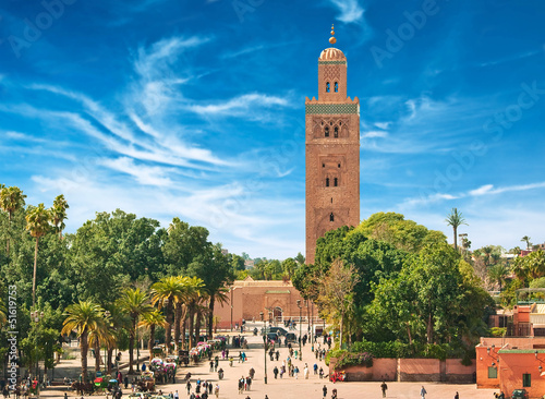 Foto Spatwand Marokko Main square of Marrakesh in old Medina. Morocco.
